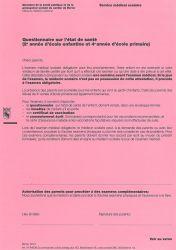 Questionnaire sur l'état de santé (2e année d'école enfantine et 4e) Canton de Berne