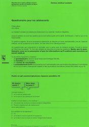 Questionnaire sur l'état de santé adolescents Canton de Berne