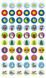 Bilderklebeformen - Sonne Mond Sterne Weihnachtszeit Tiere